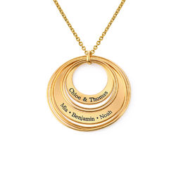 Engraved Two Ring Necklace in 18ct Gold Vermeil product photo