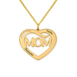Mum Heart Necklace with Kids Names in 18ct Gold Vermeil product photo
