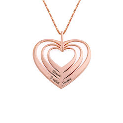 Family Hearts necklace in 18ct Rose Gold Plating - Mini design product photo