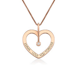 Personalised Love Necklace with Diamond in Rose Gold Plating product photo