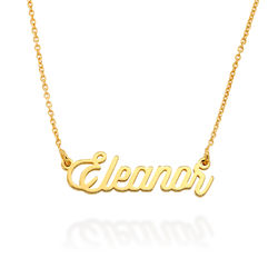 Cable Chain Script Name Necklace in Gold Plating product photo