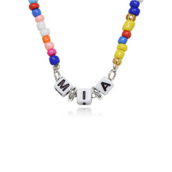 Rainbow Kids Beaded Name Necklace in Sterling Silver product photo