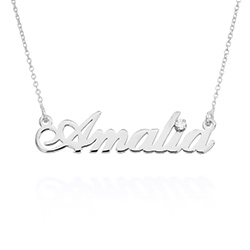Small Classic Name Necklace with 5 Points Carats Diamond in Sterling Silver product photo