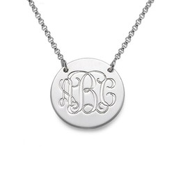 Sterling Silver Monogram Disc Necklace product photo