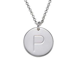Engraved Silver Initial Charm Pendant product photo