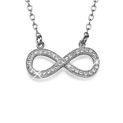 Silver Infinity Necklace with CZ Diamonds product photo