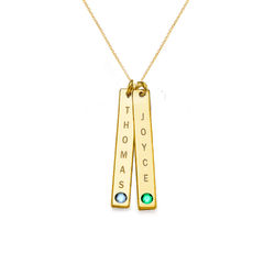 Birthstone Vertical Bar Necklace For Mothers in 18ct Gold Vermeil product photo