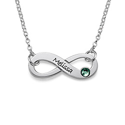 Engraved Birthstone Infinity Necklace product photo
