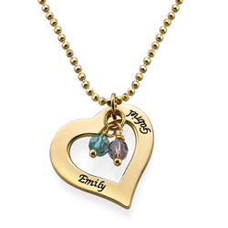 18ct Gold Plated Engraved Necklace with Hollow Heart product photo