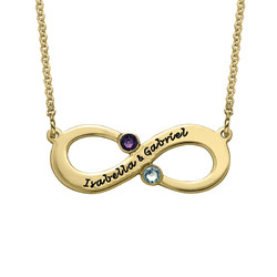Couple's Infinity Necklace with Birthstones - Gold Plated product photo