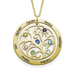 Family Tree Birthstone Necklace in 18ct Gold Vermeil product photo