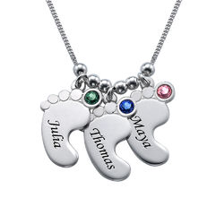 Baby Feet Necklace with Birthstones in Sterling Silver product photo