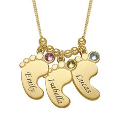 Baby Feet Necklace with Birthstones in Gold Plating product photo