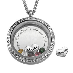 Engraved Floating Charms Locket with Birthstones- For Mum or Grandma product photo