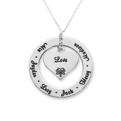 10ct White Gold Grandmother / Mother Necklace product photo