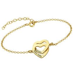 Diamond Interlocking Adjustable Hearts Bracelet in Gold Plated product photo