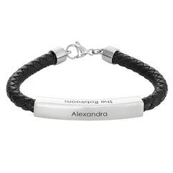 Engraved Leather Bar Bracelet for Men- in Black product photo