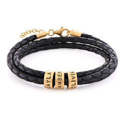 Women Braided Leather Bracelet with Small Custom Beads in 18ct Gold Plating product photo