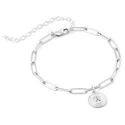 Odeion Initial Link Chain Bracelet / Anklet in Sterling Silver product photo