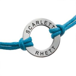 Leather Style Cord Bracelet With Silver Pendant product photo
