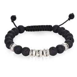 Lava Stones & Custom Beads- Men's Beaded Bracelet product photo