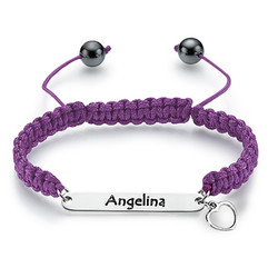 Friendship Bracelet with Engraved Silver ID Tag product photo