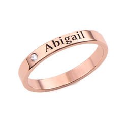 Stackable Name Ring in Rose Gold Plating with Diamond product photo