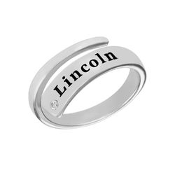 Custom Wrap Name Ring with Diamond in Silver product photo