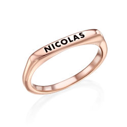 Stackable Rectangular Name Ring in Rose Gold Plating product photo