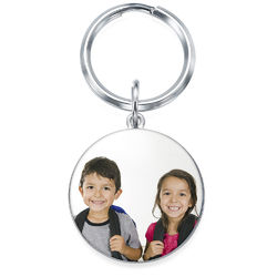 Engraved Round Photo Keyring in Sterling Silver product photo