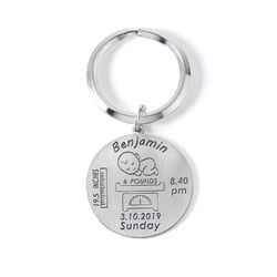 Personalised Engraved Baby Birth Keyring in Sterling Silver product photo