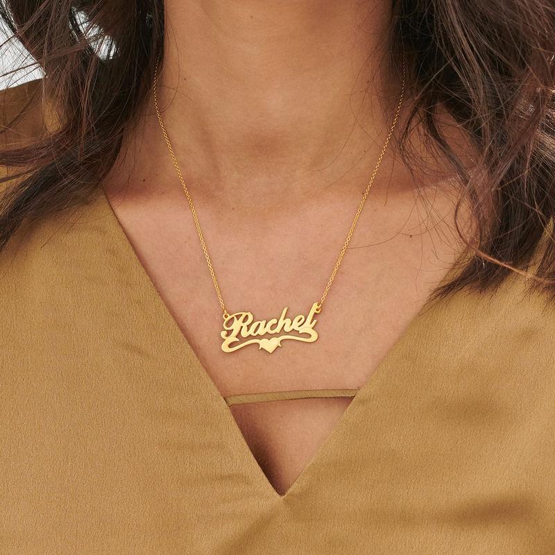Vergoldete Namenskette aus 925 Silber mit Herz in der Mitte - 1