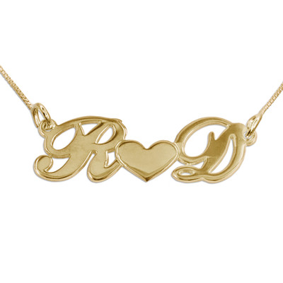 Individualisierte Pärchen-Namenskette mit Herz aus vergoldetem 925 Silber
