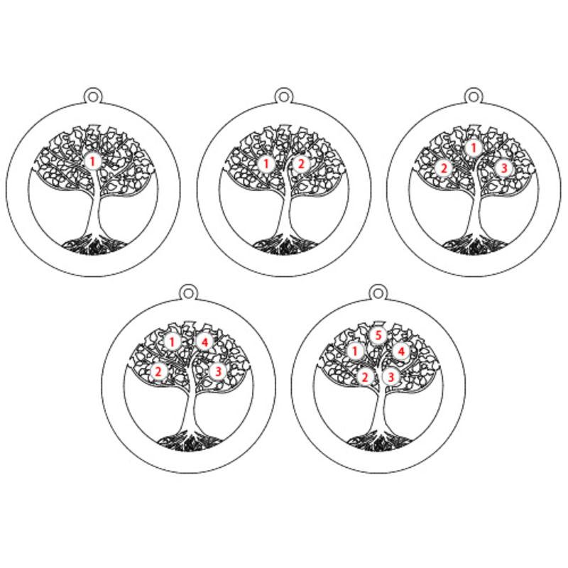 Runde Stammbaumkette mit Gravur und Geburtssteinen - 3