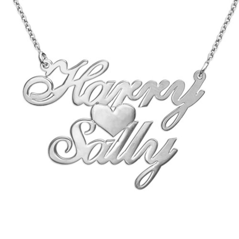 925 Silber Namenskette mit zwei Namen und Herz