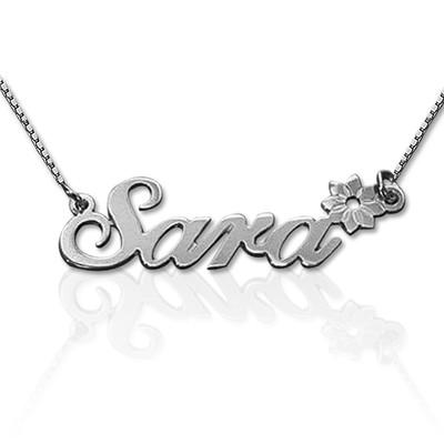 925 Silber Namenskette mit seitlicher Blume