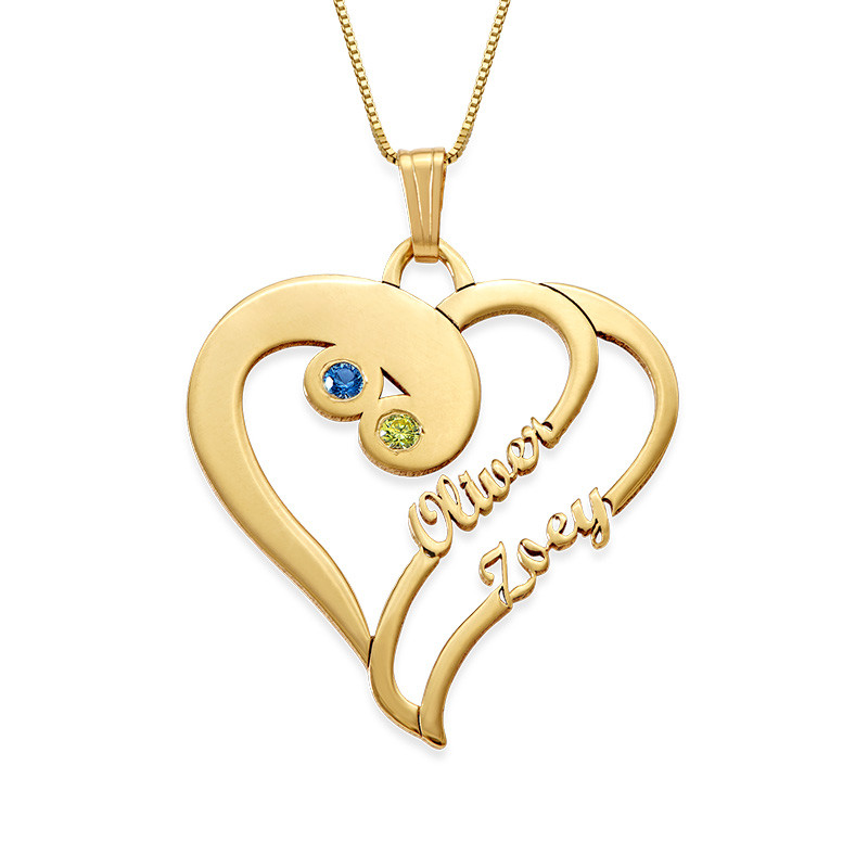 585er Gold (14k) - Doppelherz-Halskette
