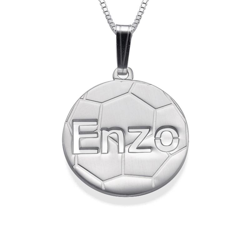 Personalisierte Kette mit Fußball-Anhänger in 925er Silber