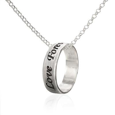 925er Silber gravierbarer Ring mit Kette