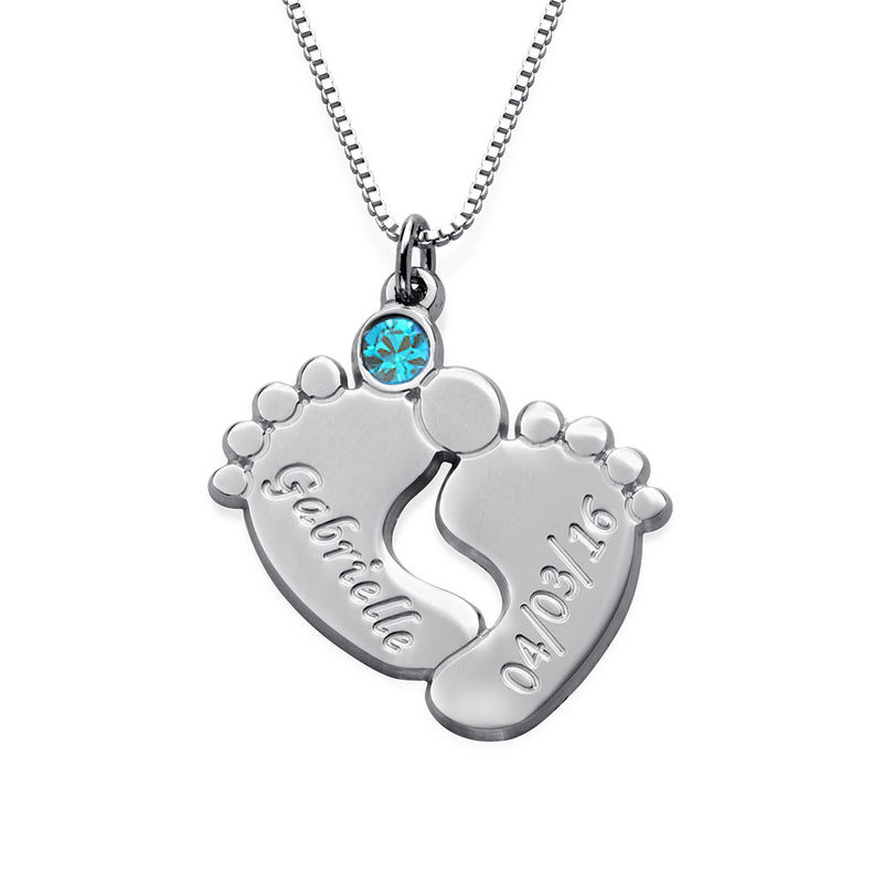 Personalisierte Babyfuß-Halskette für Mama - 1