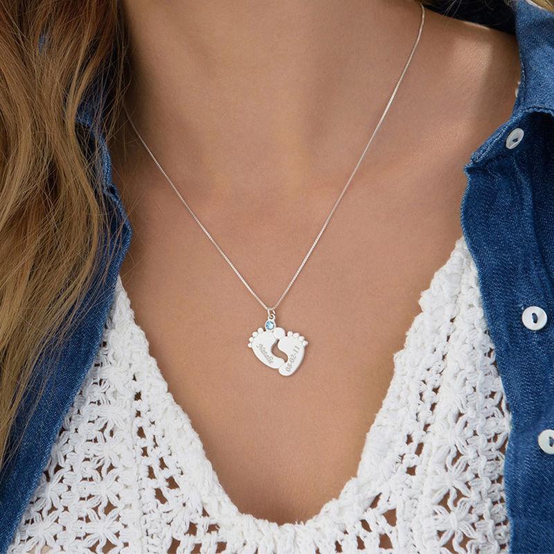 Personalisierte Babyfuß-Halskette für Mama - 3