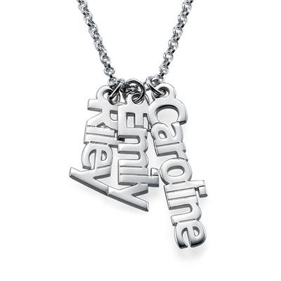 925er Silberkette mit senkrechten Namensanhängern
