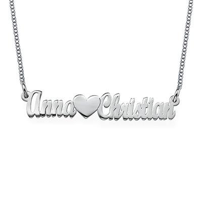 Doppelstarke Namenskette für Pärchen aus Sterling Silber