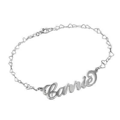 "925 Silber Namensarmband/Fußband im ""Carrie"" Style mit Herz Kette"