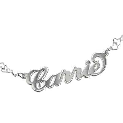 "925 Silber Namensarmband/Fußband im ""Carrie"" Style mit Herz Kette - 1"