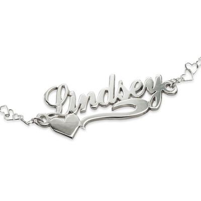 925 Silber Namensarmband/Fußband mit seitlichem Herz - 1