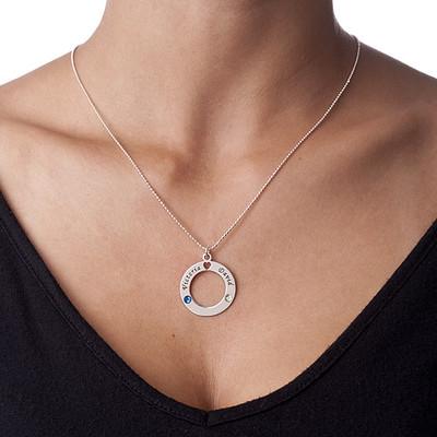 Ring des Lebens Anhnger mit Geburtssteinen in 925er Silber - 1