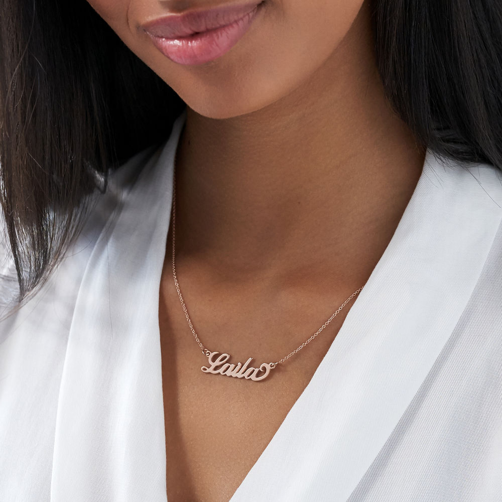 "Kleine ""Carrie"" Namenskette aus 750er Roségold überzogenem Silber - 2"