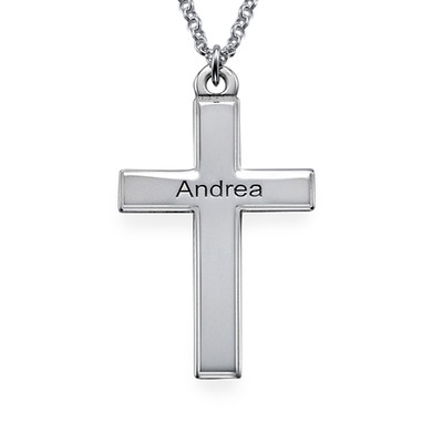 Personalisierte Silber Kreuzkette mit gerillten Kanten