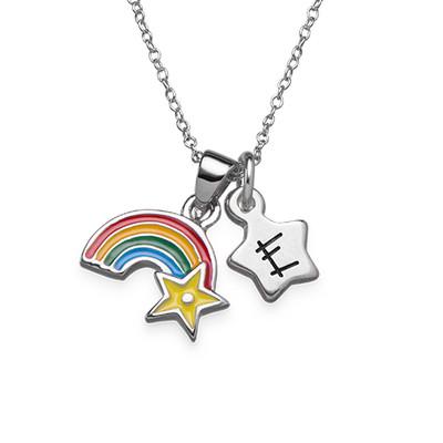 Regenbogenkette mit Initialen Anhänger für Kinder